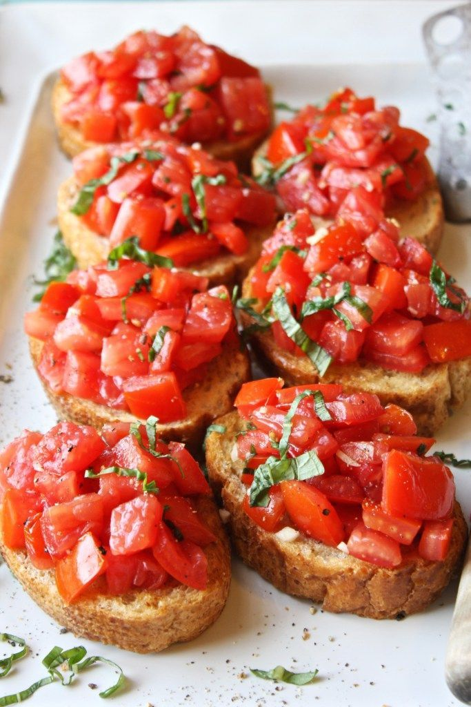 Delicious bruschetta for an Italian-themed dinner party. Yum!