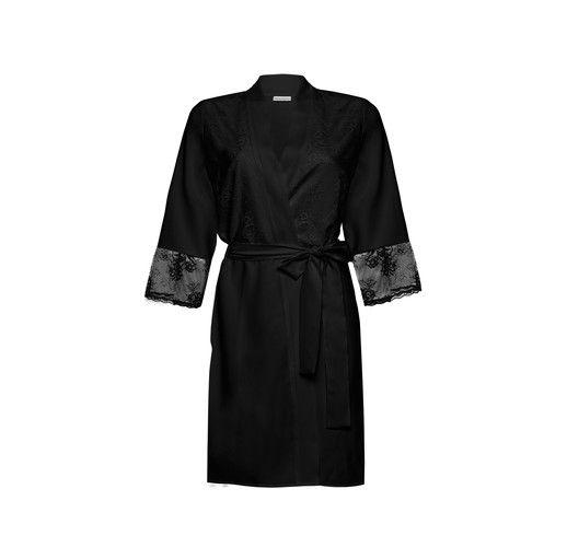 Kimono da donna intimo dedicato anche alla spose per fasi del trucco, progettato in morbido crêpe elastico per renderlo coprente. Il davanti è realizzato...