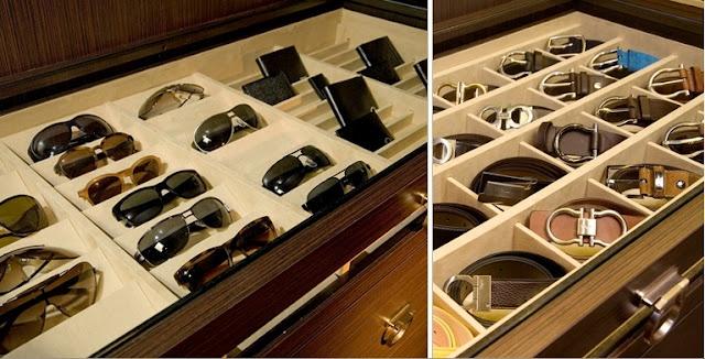 Built in accessories drawers. From Lisa Adams, LA Closet Design