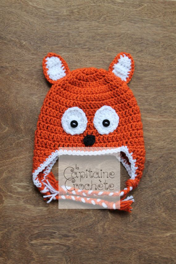 SALE 9-24 months hat fox orange black white by LaCapitaineCrochete