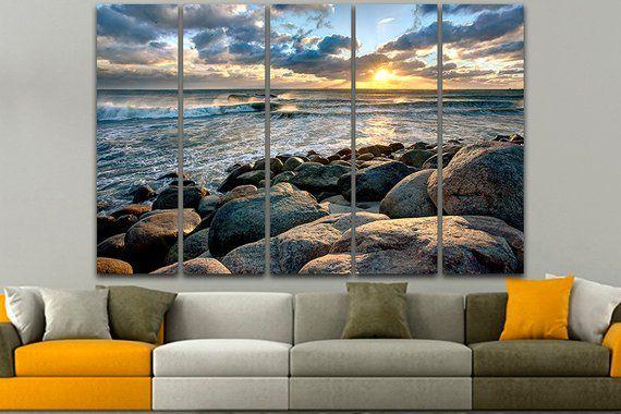 Seascape Print Beach Canvas Gallery Wall Set Denmark Art Sunset