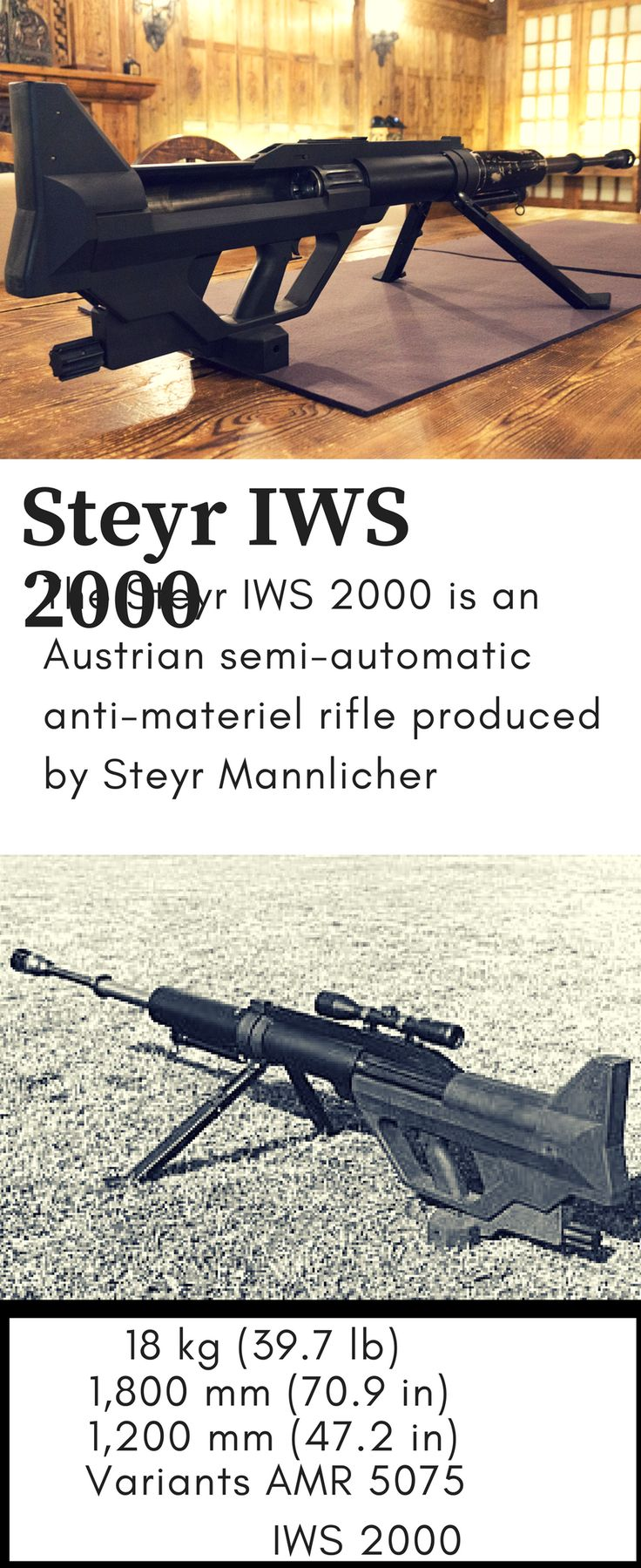 Steyr IWS 2000 The Steyr IWS 2000 is an Austrian semi-automatic anti-materiel rifle produced by Steyr Mannlicher. IWS stands for Infantry Weapon System. Like many modern anti-tank rifles, it is actually a smoothbore weapon and not a true rifle but this can help accelerate projectiles and increase ballistic effectiveness.