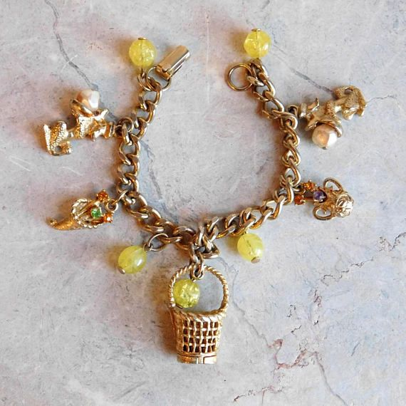 Vintage 1960/'s Gold Tone Charm Bracelet with Large Aqua and Silver Beads