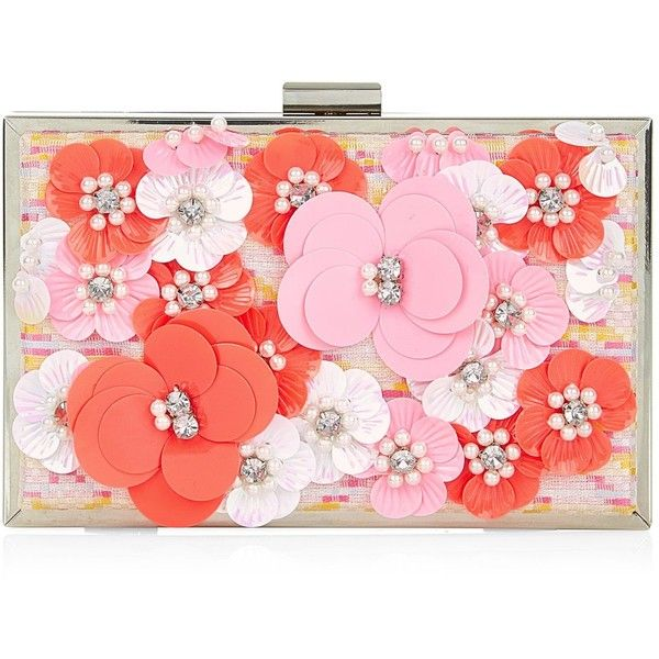 New Look Pink Abstract Print Jacquard 3D Flower Box Clutch (£20) ❤ liked on Polyvore featuring bags, handbags, clutches, pink pattern, flower handbag, flower print purse, hard clutch, flower purse and floral clutches