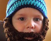 Crochet Striped Bearded Beanie Hat with Detachable beard for newborns, babies, children and adults handmade with premium acrylic yarn - pinned by pin4etsy.com