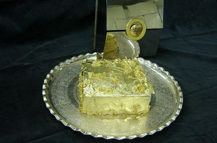 Golden Cake-This is no sponge cake from a Betty Crocker Box; at a $1,000 this desert takes the cake. Present in a sterling silver handcrafted box, the cake is covered in 24 carat gold leaf, with a medley of fruits that have been marinating in Jamaican rum for two years and a sprinkling of shaved caramelized black truffles.