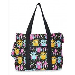 Multi-color Owl Print Extra Large Tote Bag