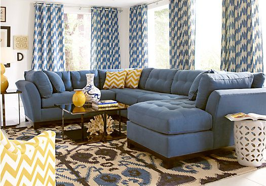 picture of Cindy Crawford Metropolis Indigo 3Pc Sectional  from Sectionals Furniture