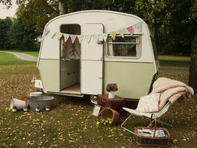 rustic green caravan blending in with the countryside <3