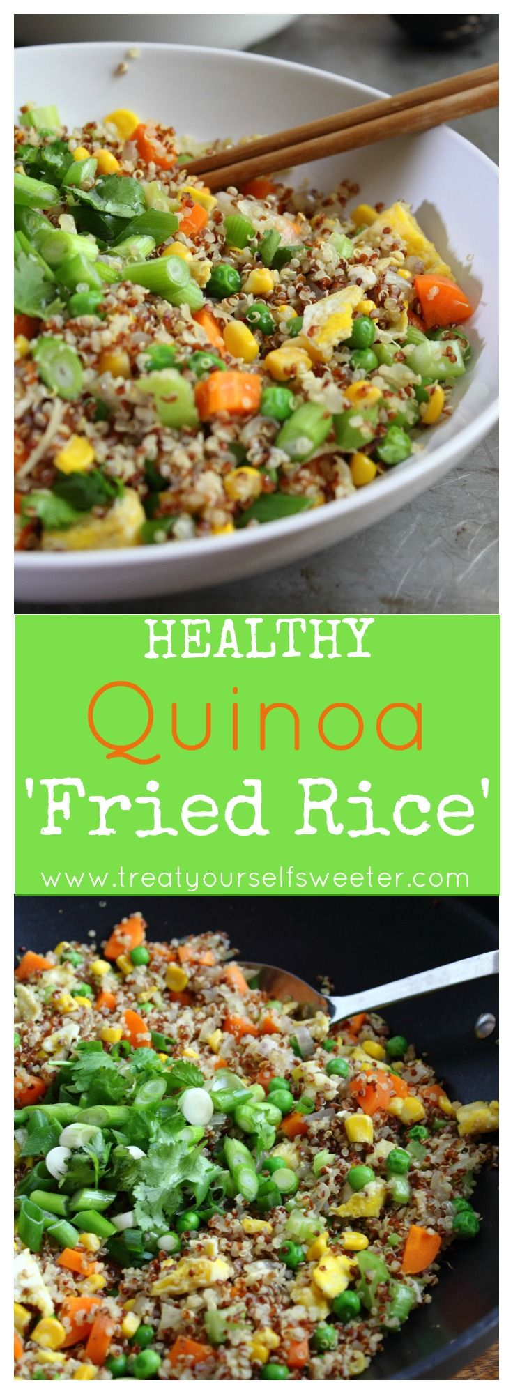 Quinoa 'Fried Rice'; fluffy quinoa, crispy vegetables and subtle flavours of ginger, garlic and soy. This is a fabulous side or main meal.