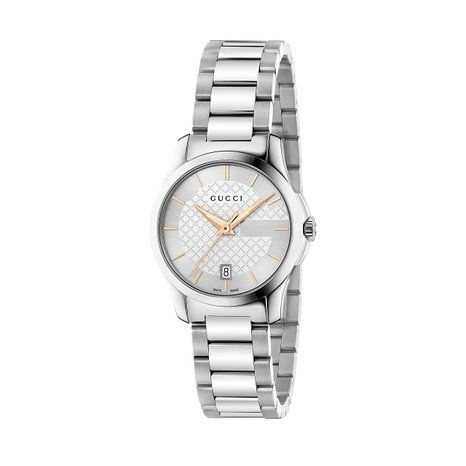 Gucci G-Timeless Collection Women's Quartz Watch with Silver Dial Analogue Display and Silver Stainless Steel Bracelet YA126523