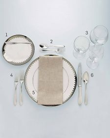 Martha weigns in on the proper way to set a formal table.  Includes a nice numbered diagram that breaks down placement, glasses, and cutlery.  Martha Stewart Living, November 2012.