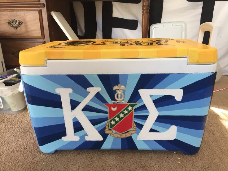 Kappa sigma fraternity crest and letters painted cooler