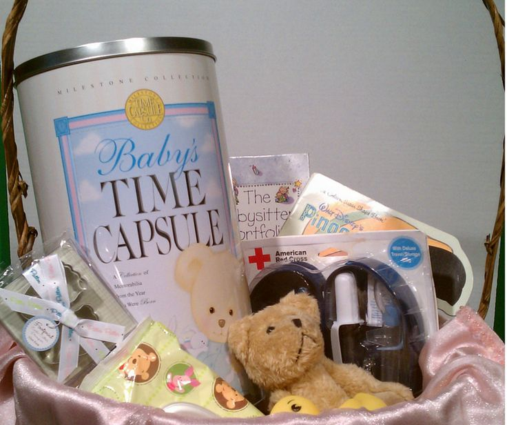 baby shower gift basket idea with decorative baby time capsule from