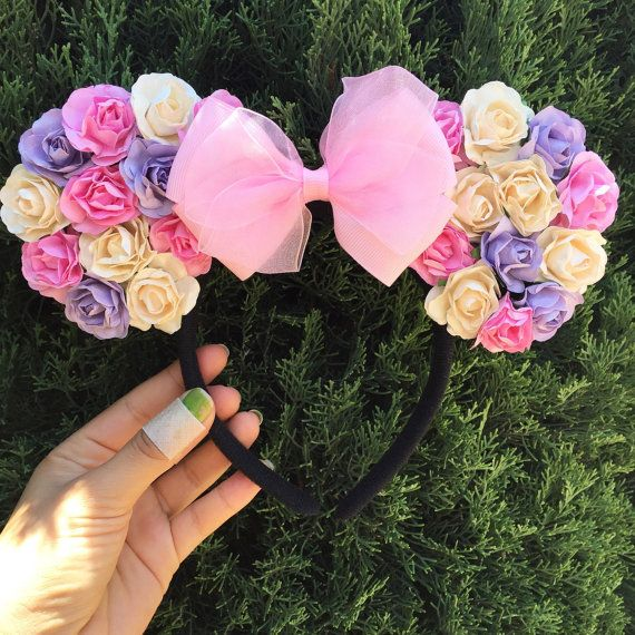 Floral Disney inspired mouse ears by CreationsbyNatty on Etsy
