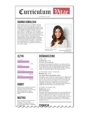 Wzór CV w formie gazety