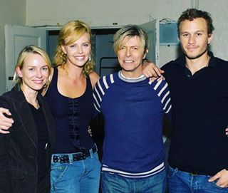 Noami watts, charlize theron, David and heath ledger💜💜 #davidbowie #davidrobertjones  #bowielove #starman #majortom  #ziggystardust #thinwhiteduke #haloweenjack #pierrot #aladdinsane #bowielicious #bowiesm #bowie #bowielover