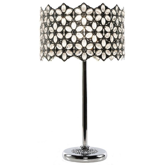 23 FAIRLEA JEWELLED CHROME TABLE LAMP W CLEAR CRYSTALS TRACY PORTER 15569