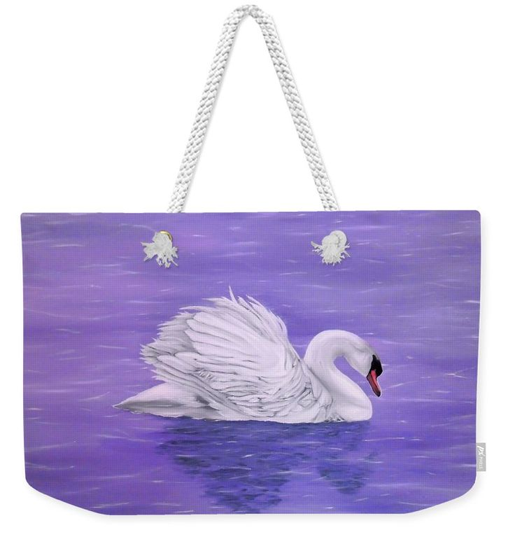 Weekender Tote Bag, purple,lavender,cool,beautiful,fancy,unique,trendy,artistic,awesome,fahionable,unusual,accessories,for,sale,design,items,products,gifts,presents,ideas,swan,lake,nature,white,bird
