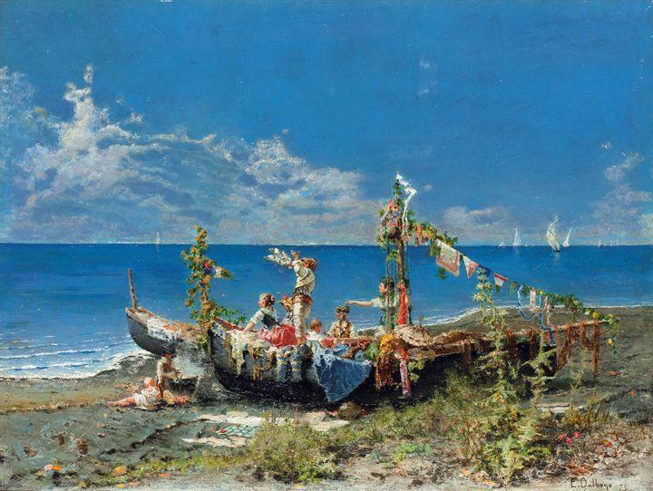 """DALBONO EDOARDO  """"Festa sul mare"""" 1875  34x45 olio su tavola  Opera firmata e datata in basso a destra"""