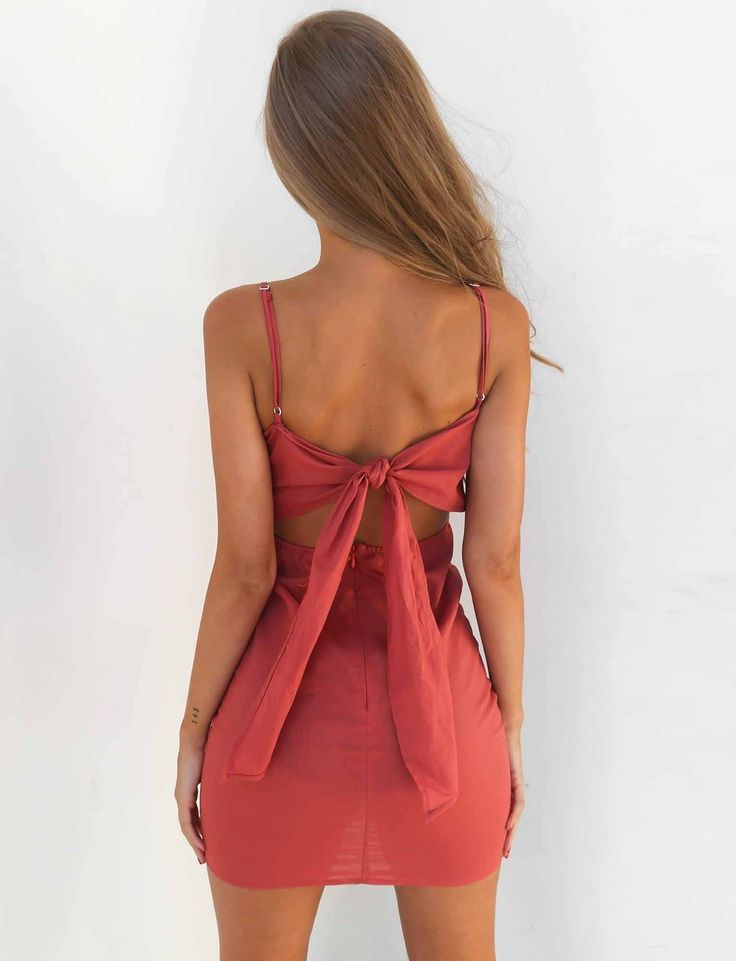 Nina Mini Dress - Rust