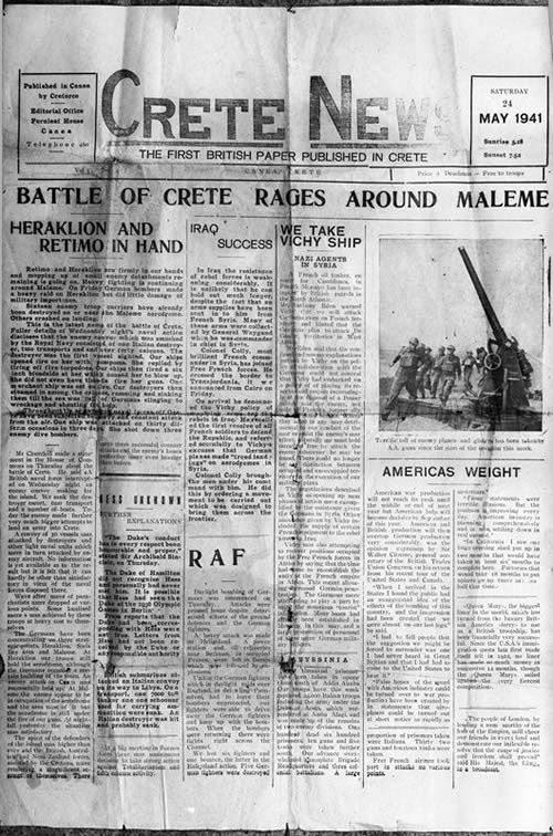 Not long after his arrival in Crete, Second Lieutenant Geoffrey Cox, a successful journalist, was ordered to report to Creforce's commander, Major-General Bernard Freyberg. Freyberg wanted Cox to write a paper to boost morale among the troops and gave him five days to produce it. The first issue of Cox's ill-fated Crete News paper was published on 16 May 1941.