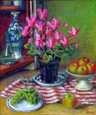 """""""Cyclamen and Apples"""" 2005 painted by Margaret Olley"""