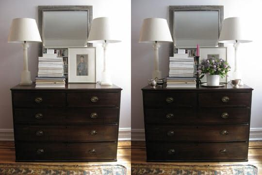 Stylist Eddie Ross, of Top Design fame, has a wonderful blog post this week describing how he helped a friend accessorize her dresser. We might've made slightly different choices, but his step-by-step photos, accompanied by tips and explanations, are incredibly helpful…