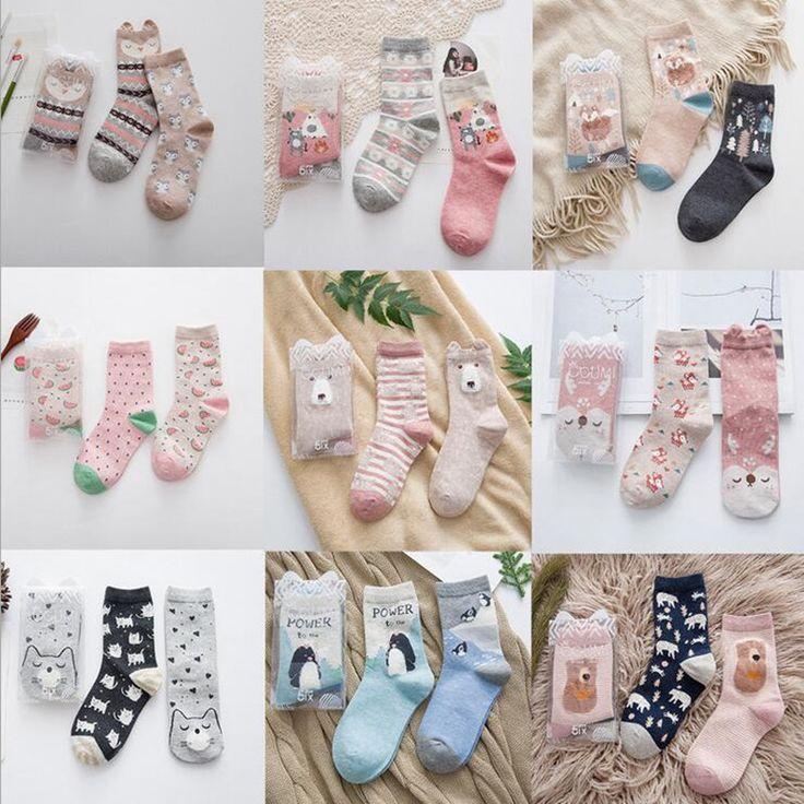 2pairs New brand winter Autumn Women Cotton cartoon Socks Female girl Cute warm funny Socks pattern calcetines gifts meias