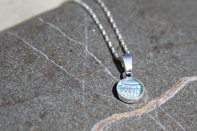 Postage Stamp Sterling Silver Necklace ITALY £18.00