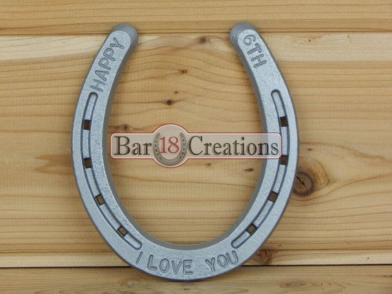 6th Anniversary Stamped Horseshoe  by Bar 18 Creations