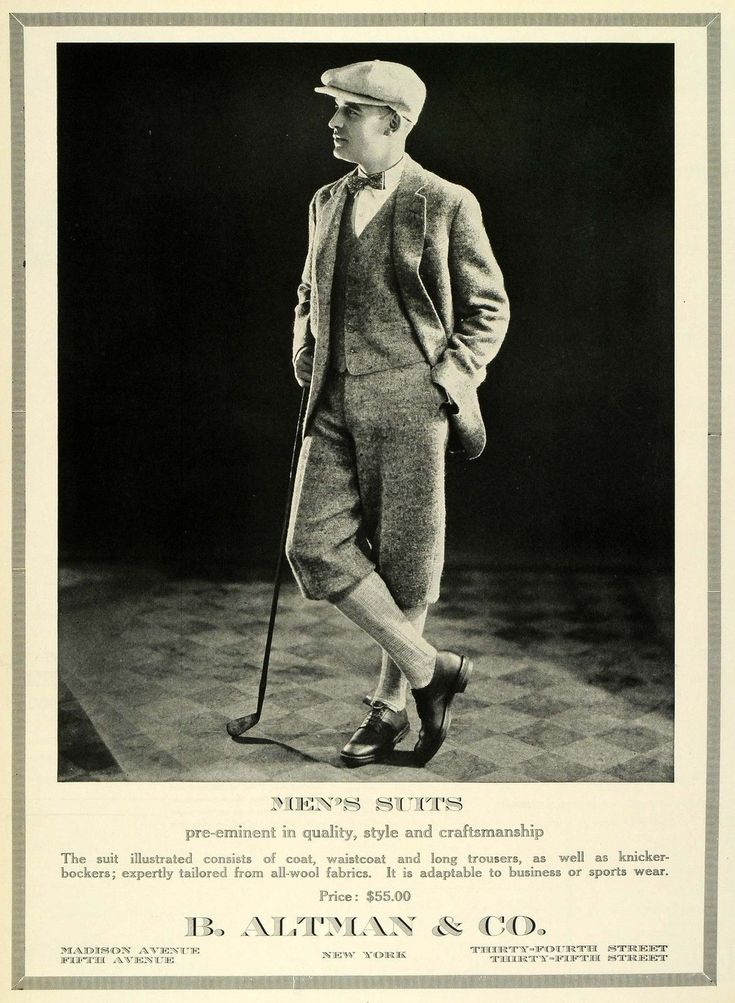 1924 AD B Altman Mens Suits Golf Waistcoat Trousers Clothing Fashion Pricing
