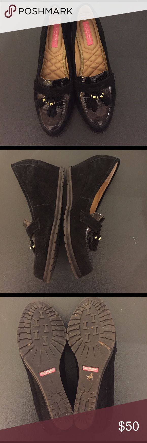 Isaac Mizrahi black suede loafers wedges. 7.5 EUC Isaac Mizrahi black loafers wedges. Suede with patent leather and tassels. Size 7.5. Excellent condition!! Isaac Mizrahi Shoes Wedges