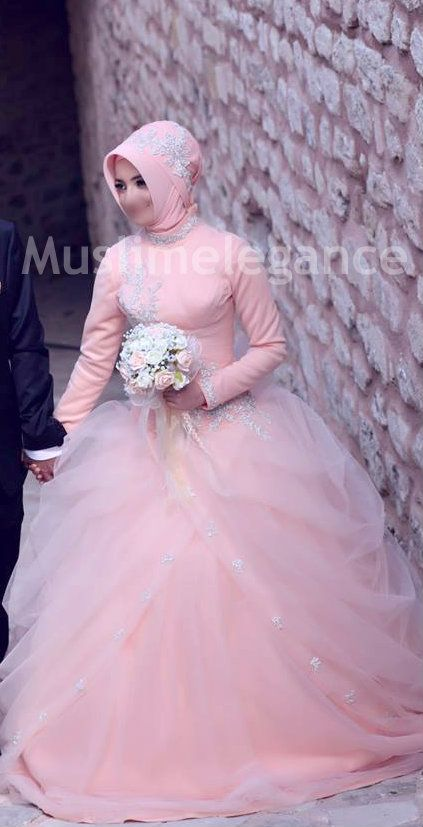 Turkish hijab style with embellished appliques Embellished evening gown