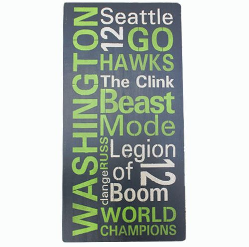 New! Hand-Painted and Stenciled Sign - Seattle Football Typography