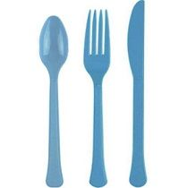 Powder Blue Heavy Weight Assorted Cutlery 24ct  Entice your party guests with your yummy dining experience by adding this Powder Blue Heavyweight Assorted Cutlery to your table setting! It comes with strong and durable solid blue disposable spoons, forks and knives that can neutrally suit any kind of occasion and theme. Package includes 24 heavyweight plastic assorted cutlery.