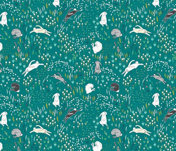 Bunny Field in Teal Quilting Fabric. Fabric by the Yard. Cotton Knit Jersey Minky. Spring Easter Rabbit Bunnies Floral Wildflower Flowers #afflink