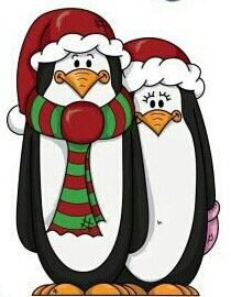 CHRISTMAS penguin couple