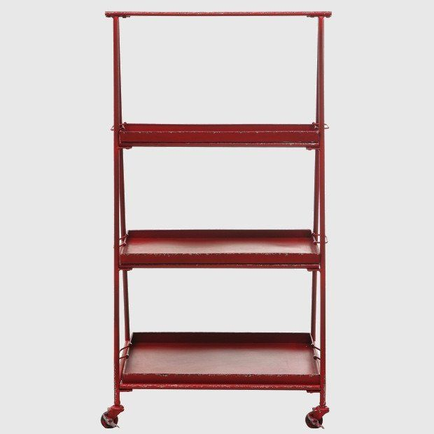 HUGE Red Rolling Shelf Unit On Casters