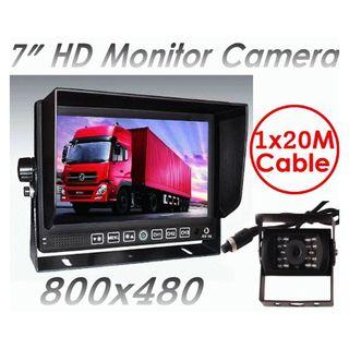 """7"""" Monitor HD 12V/24V Reversing CCD Camera Truck Caravan 3 AV inputs"""