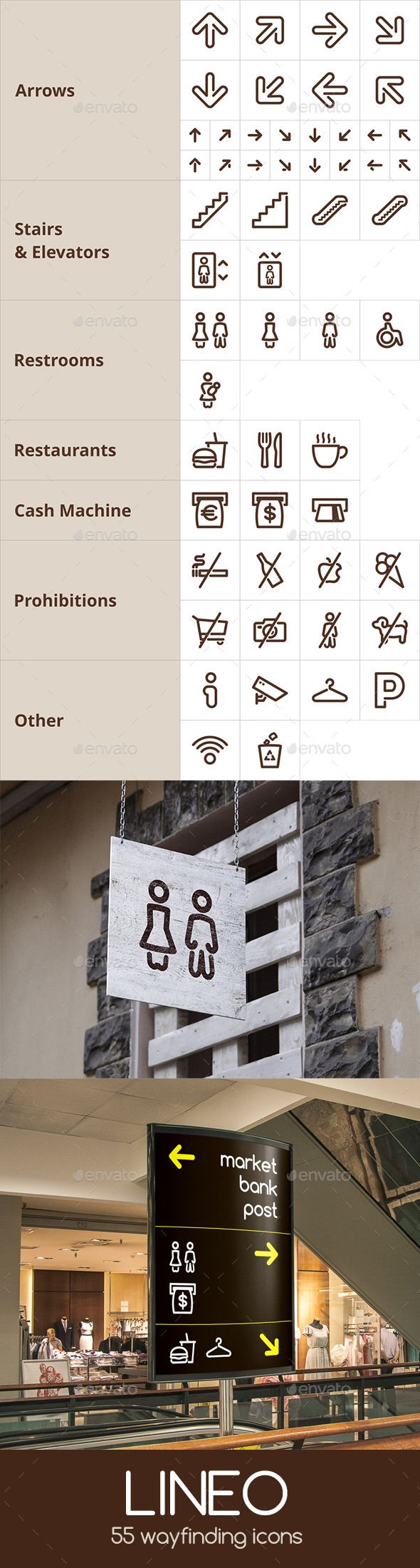 Lineo - 55 Wayfinding Icons - Miscellaneous Icons