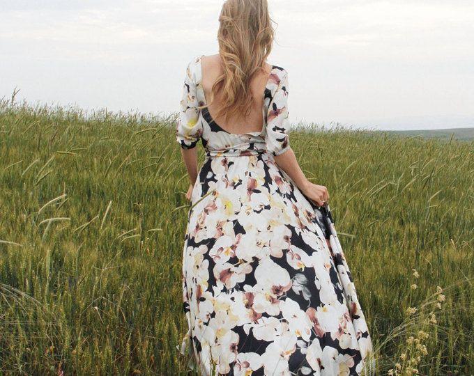 Vestido maxi de gasa seda Floral con cuchara posterior de Dama de honor vestido de boda ensayo cena romántico rústico