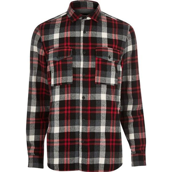River Island Red check two pocket flannel shirt (€13) ❤ liked on Polyvore featuring men's fashion, men's clothing, men's shirts, men's casual shirts, red, sale, mens red checked shirt, mens collared shirts, mens checkered shirts and mens slim fit casual shirts