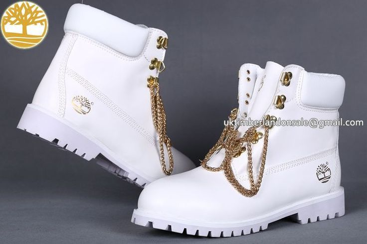 UK Timberland Women White 6 Inch Premium Boots With Metal Chains £ 72.79