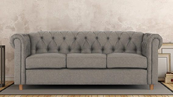 Enhance The Look Feel Of Your Living Room With Grey Colour Three Seater Sofa Set Designed Skillfully From Fabric You C Sofa Set Sofa Set Online Seater Sofa