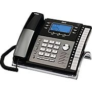 RCA 25424RE1 4 Line Integrated Telephone System with Caller ID Corded Black Silver | Staples