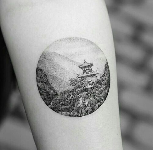 circular East Asian scenery tattoo                              …