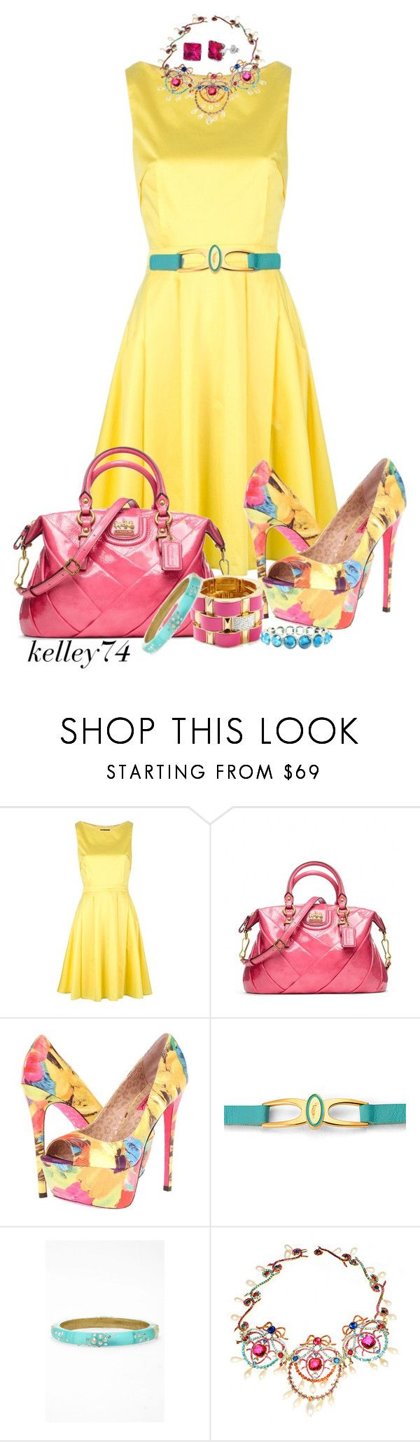 """Tara Jarmon Dress"" by kelley74 ❤ liked on Polyvore featuring Tara Jarmon, Coach, Betsey Johnson, Juicy Couture, Aspinal of London, Alexis Bittar, Chanel and Fantasy Jewelry Box"