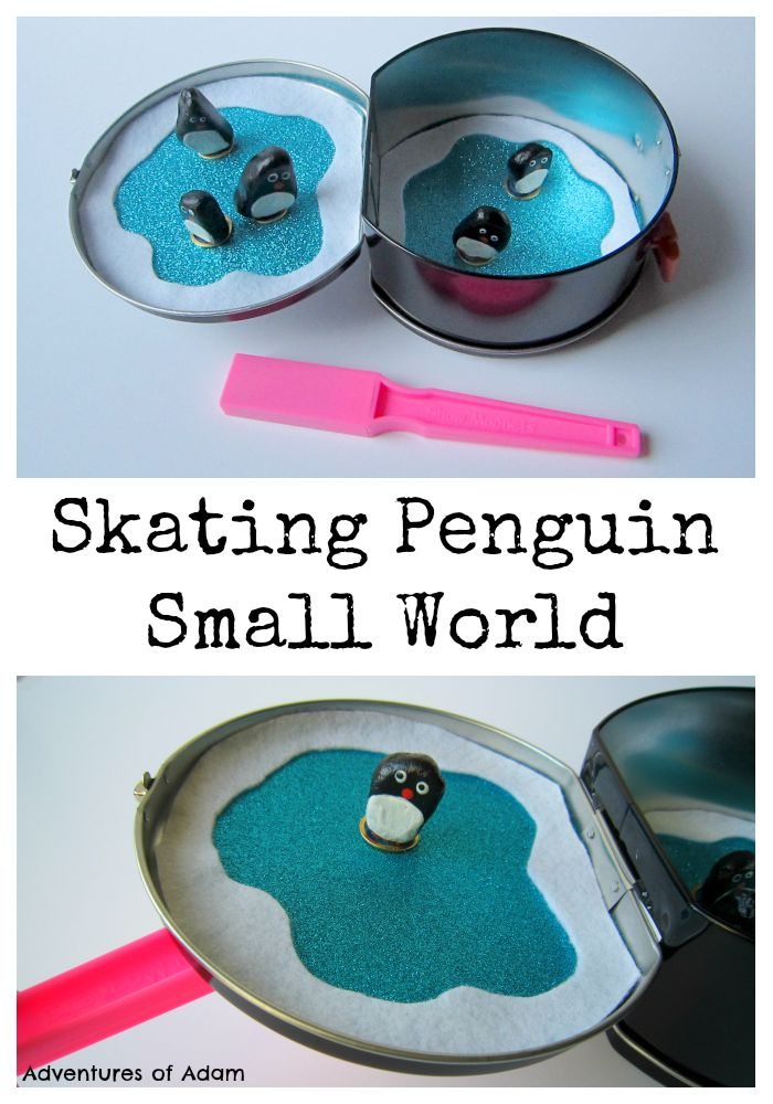 Skating Penguin Small World. Create a magnetic busy bag and make the penguins skate on their own ice rink.