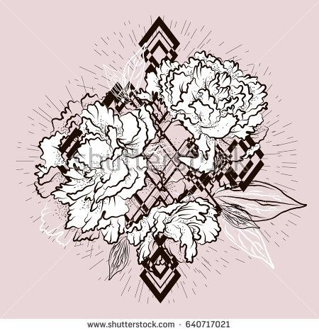 Vintage print. Bouquet with Peony flowers. Beautiful black and white graphics for t-shirts. Vector illustration eps 10.
